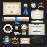 Diploma and school elements set collection royalty free illustration