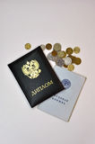 Diploma, service record and small coins of the Russian Federatio Royalty Free Stock Image