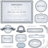 Diploma template with additional design elements Royalty Free Stock Image