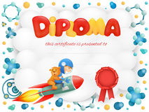Diploma template certificate with spaceman boy and teddy bear Stock Images