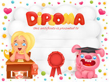 Diploma template certificate with student girl and pink bunny. Vector illustration Royalty Free Stock Image