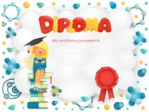 Diploma template certificate with student girl sitting on books Royalty Free Stock Photo