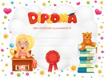 Diploma template certificate with student girl and teddy bear. Stock Photos