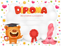 Diploma template certificate with teddy bear and pink bunny cartoon characters Stock Image