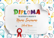 Diploma template for children. royalty free illustration
