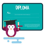Diploma template with flat penguin character stylized as a student. Stock Photography