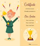 Diploma template. Girl with trophy. Diploma template. Girl holding winning trophy. Victory concept Royalty Free Stock Photo