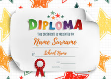 Diploma template for kids. Diploma template for kids, certificate background with hand drawn colorful stars for school, preschool or playschool. Vector Stock Images