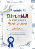 Diploma template for kidswith racinf cars. Stock Images