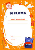 Diploma template for school or elementary school kids. Stock Photography