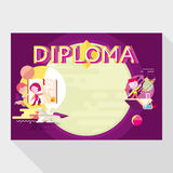 Diploma template for school Stock Images