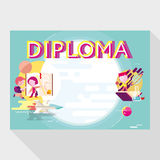 Diploma template for school Stock Photography