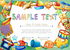 Diploma template with toys on border Royalty Free Stock Photo