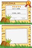 Diploma template with wooden board on grass. Illustration Stock Photo