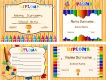 Diploma templates with wooden board and color pencils. Illustration vector illustration