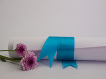 Diploma tied with a blue ribbon Royalty Free Stock Photo