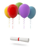 Diploma tied with red ribbon hanging on Red Balloons,  on White Background Stock Photo