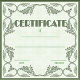 Diploma verde del certificado con el fondo verde del modelo ilustración del vector
