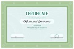 Diploma verde do certificado para a educação Imagens de Stock Royalty Free