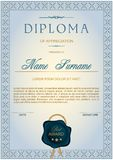 Diploma in vertical format in gray-blue shades Stock Images
