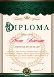 diploma is vertical in the style of vintage Green and golden color scale royalty free illustration