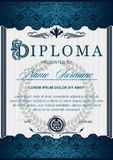 The diploma is vertical in the style of vintage, rococo, baroque royalty free illustration
