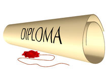 Diploma and wax seal Royalty Free Stock Images