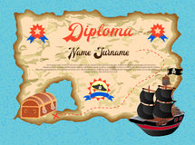 Diploma of the winner in the quest search of pirate treasure Royalty Free Stock Photography