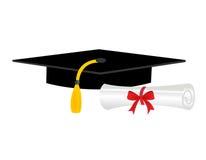 Diploma y casquillo de la graduación Imágenes de archivo libres de regalías