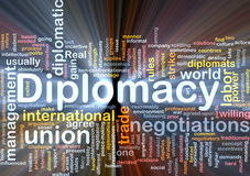 Diplomacy background concept glowing. Background concept wordcloud illustration of diplomacy glowing light Royalty Free Stock Images