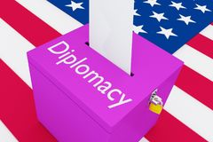 Diplomacy - political concept. 3D illustration of Diplomacy script on a ballot box, with US flag as a background Royalty Free Stock Photo