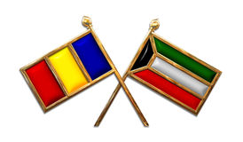 Diplomacy Romania And Kuwait Flags Royalty Free Stock Photos