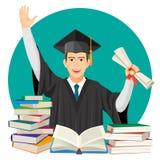 Diplomado de High School secundaria con el diploma en manos y pilas de libros de texto stock de ilustración