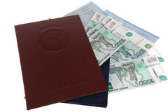 Diplomas of higher education with applications and money. On white background stock photo