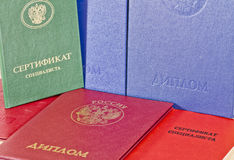 Diplomas rusos foto de archivo
