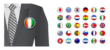 Diplomat with flag badge on white background Royalty Free Stock Images