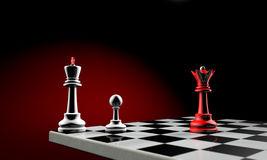 Diplomatic crisis. Three chess pieces (the white king, white pawn and red queen). Temy artistic background stock illustration
