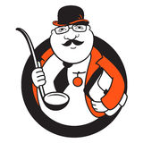 Diplomatic kitchen logo. Diplomat ladle sign Isolated on white background vector illustration