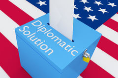 Diplomatic Solution concept. 3D illustration of Diplomatic Solution script on a ballot box, with US flag as a background Stock Photo