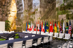 Diplomatic table and flags Stock Images