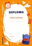 Diplommall för skola- eller grundskolaungar Arkivbild