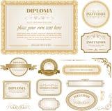Diplommall med extra designbeståndsdelar Arkivbild