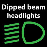 Dipped beam headlights icon , vector illustration dashboard sign,  green - instrument cluster dtc code error - obd. Vector illustration representing dipped beam Stock Photography