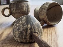 Dipper die van kokosnotenshell wordt gemaakt, Royalty-vrije Stock Foto's
