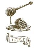 Dipper stok met druipende honing en honingraat Royalty-vrije Stock Fotografie