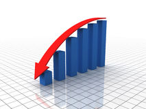 Dipping bar graph (XXL) Stock Photos