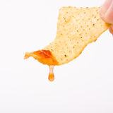 Dipping Chips Royalty Free Stock Images