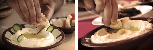 Dipping with Pita Bread Vintage Fee Royalty Free Stock Photography
