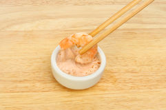 Dipping prawn Royalty Free Stock Image