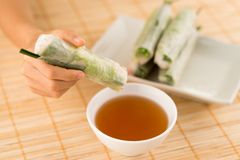 Dipping rice paper rolls. Hand dipping vegetarian rice paper rolls into the sauce Royalty Free Stock Photos